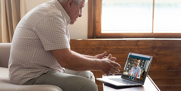 Picture of care home resident video calling family